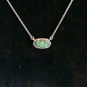 Mini Kendra Scott Necklace With Veined Green Stone